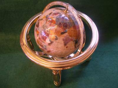 Stunning Gemstone Globe in Brass Gimbal with Compass. 250mm Tall