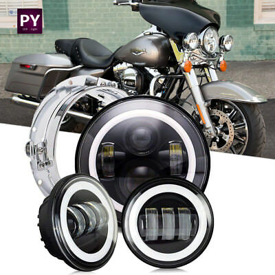 """7"""" Daymaker LED Headlight + Pair Passing Lights For Harley Road King Police FLHP"""