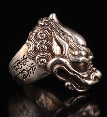 Old Tibet Silver Ring Statue China Sacred Dragon