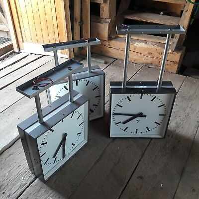 PRAGOTRON LARGE 1960's DOUBLE SIDED STATION CLOCK NEVER BEEN OUTSIDE