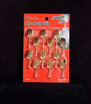 Pack Of 12 Gold Tone / Brass Heavy Duty Christmas Ornament Hanger Clips - NIP