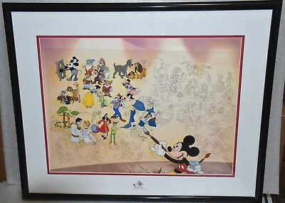 "DISNEY Sericel ""Disney 75 Years of Love and Laughter"" - Framed"