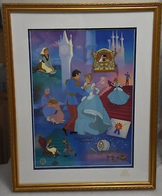 "Disney Sericel ""Cinderella's 50th Anniversary"" - LE - Framed - Autographed"