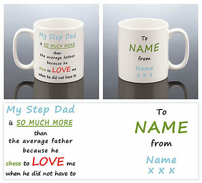 STEP DAD MUG PERSONALISED Best Stepdad Birthday Gift Cup Stepfather Present