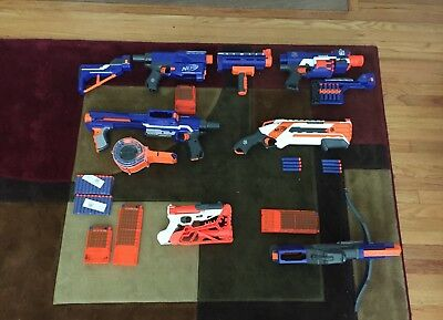 Lot of 6 Nerf N-Strike Elite Blasters Used Good Condition + magazines + bullets