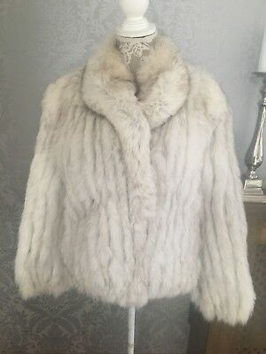 Ladies white SAGA soft real Arctic blue Fox fur coat size UK 10/12 excellent co