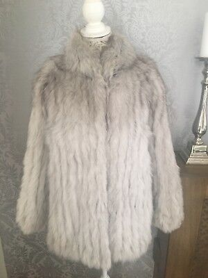 Ladies SAGA soft real Arctic blue Fox fur coat size UK 10/12 excellent con