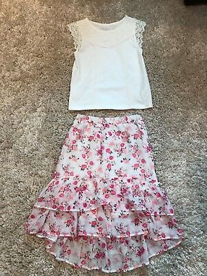 The Children's Place girls top & floral skirt EUC size 5/6