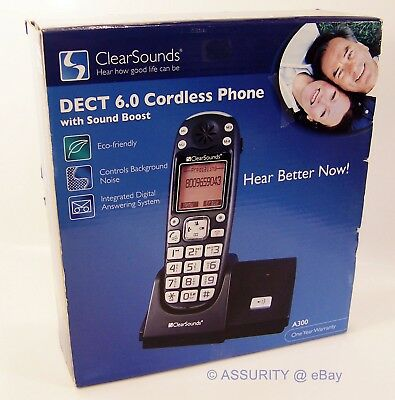 ClearSounds Amplified Cordless Phone & Answering System: Hearing boost 25db NEW!