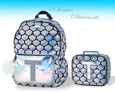 """Justice Girls Mermaid Initial """"T"""" Backpack + Lunch Tote Set - NWT Very Cute!"""