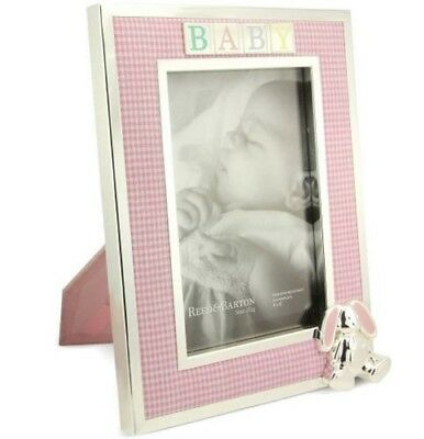 "Reed & Barton Gingham Bunny Silverplate 4"" x 6"" Pink Baby Photo Frame"
