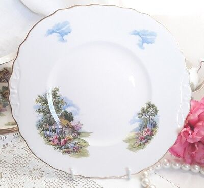 Vintage China Cake Plate Royal Vale Country Cottage 7382 Wedding Afternoon Tea