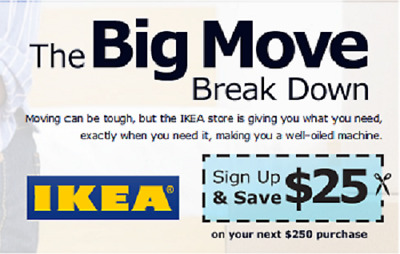 Three Ikea Coupon $25 Off $250 Valid on ANY Purchase In Store Exp 1/6/2019