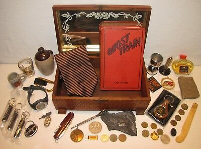 Vtg Mans Junk Drawer Lot~Old Box/Book-Ghost Train 1932/Tokens/Knife/Fossils~GUC