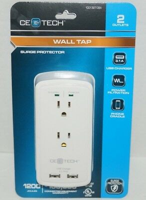 CE TECH 2-Outlet USB Wall Tap Surge Protector 1001327084