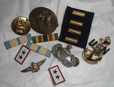 Lot of 14 Pieces, Vintage US Military, Bars, Ribbons, Tie Clip
