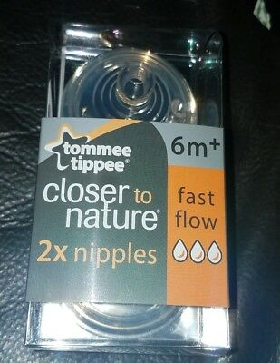 Tommee Tippee Closer to Nature Nipple, Fast Flow, 2 Count