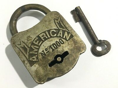 Old antique vintage brass solid padlock with key AMERICAN