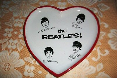 The Beatles Porcelain Signature Heart Shaped Nibbles Dish + Red Trim. 8.5 Inches