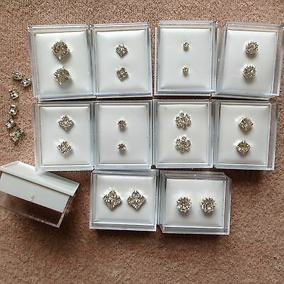 JOB LOT-20 pairs of 10 different styles diamante stud earrings. Gift boxed.