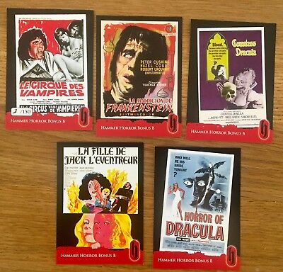 Hammer Horror Bonus B Numbered 5 card set  - Strictly Ink Trading Card Season 2