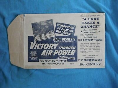 WWII home front  empty envelope, ads for movies, Walt Disney, John Wayne
