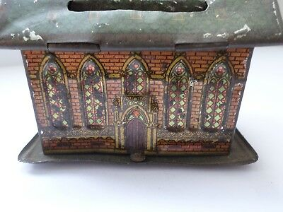 Small antique late 19th or early 20th century tin plate money box - chapel