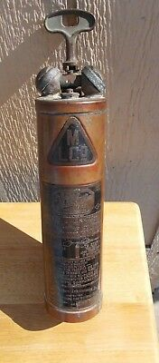 1900's Vintage Wilbur Train Copper Brass Hand Pump Fire Extinguisher