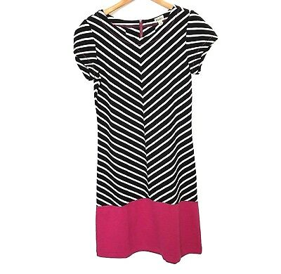 Hatley Dress Womens Size XS Blue White Diagonal Stripe Pink Nautical