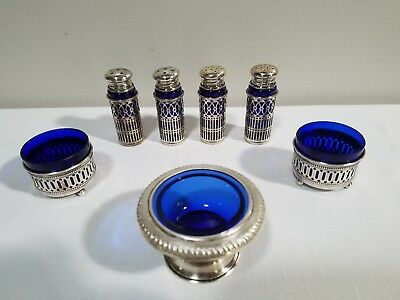 REDUCED - 7 Vintage Antique Cobalt Blue and Silver Salt Cellar Shakers
