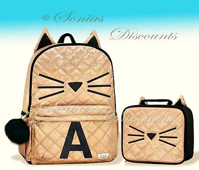 """Justice Initial """"A"""" Gold CAT Quilted Backpack+Lunch Tote Set-NWT-Simply Elegant!"""