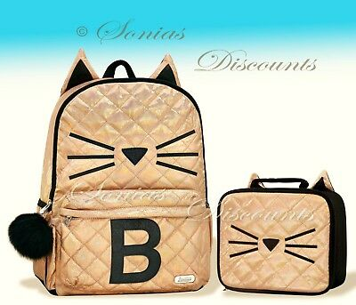 """Justice Initial """"B"""" Gold CAT Quilted Backpack+Lunch Tote Set-NWT-Simply Elegant!"""