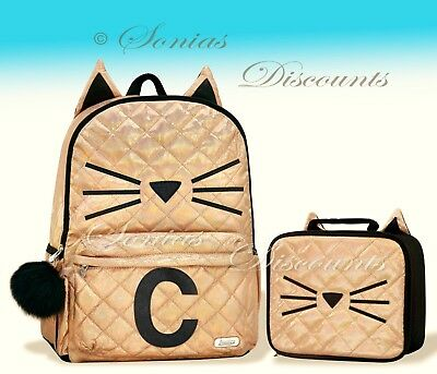 """Justice Initial """"C"""" Gold CAT Quilted Backpack+Lunch Tote Set-NWT-Simply Elegant!"""