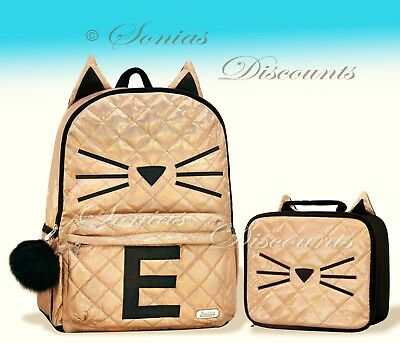 """Justice Initial """"E"""" Gold CAT Quilted Backpack+Lunch Tote Set-NWT-Simply Elegant!"""