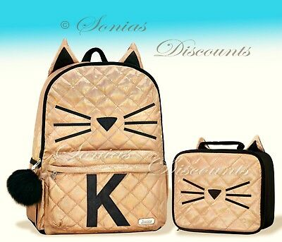 """Justice Initial """"K"""" Gold CAT Quilted Backpack+Lunch Tote Set-NWT-Simply Elegant!"""