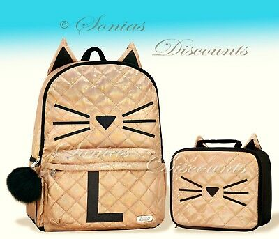 """Justice Initial """"L"""" Gold CAT Quilted Backpack+Lunch Tote Set-NWT-Simply Elegant!"""