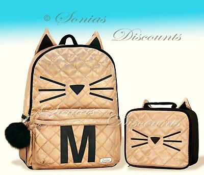 """Justice Initial """"M"""" Gold CAT Quilted Backpack+Lunch Tote Set-NWT-Simply Elegant!"""