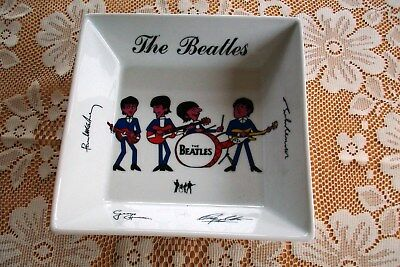 The Beatles Porcelain Signature Dish - 7 Inches Square. Highly Collectable