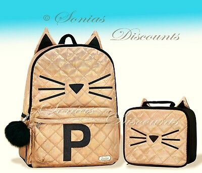 """Justice Initial """"P"""" Gold CAT Quilted Backpack+Lunch Tote Set-NWT-Simply Elegant!"""