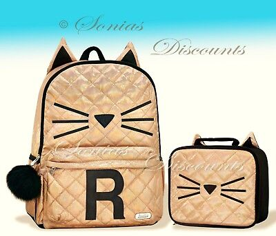 """Justice Initial """"R"""" Gold CAT Quilted Backpack+Lunch Tote Set-NWT-Simply Elegant!"""