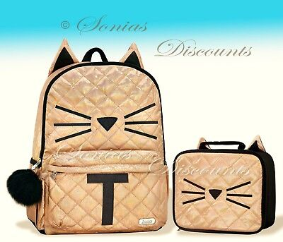 """Justice Initial """"T"""" Gold CAT Quilted Backpack+Lunch Tote Set-NWT-Simply Elegant!"""