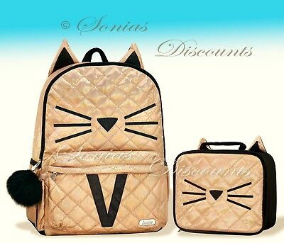 """Justice Initial """"V"""" Gold CAT Quilted Backpack+Lunch Tote Set-NWT-Simply Elegant!"""