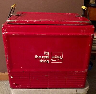 """COCA-COLA """"it's the real thing"""" Ice Chest Cooler  Low Production Model 1969 RARE"""