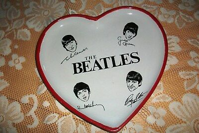 The Beatles Porcelain Signature Heart Shaped Nibbles Dish + Red Trim 8.5 Inches