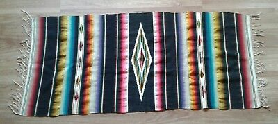 Vintage Mexican Wool Sarape Indian Rug Wall Hanging Blanket 25 x 55
