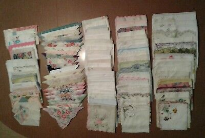 Lot of 110 Vintage Embroidered Lace Floral Hankies Handkerchiefs Crafts