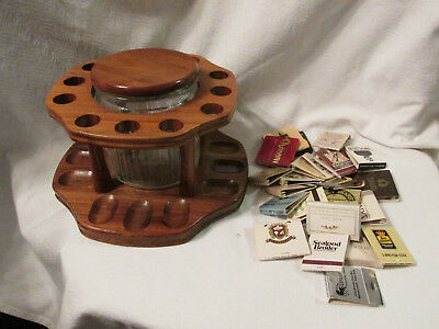 Decatur Industries Walnut 12 Pipe Rack Clear Glass Humidor-VTG UNUSED MATCHBOOKS