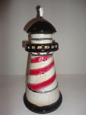 NEW Pottery Ceramic Lighthouse Oil Lamp Candle Red Black White