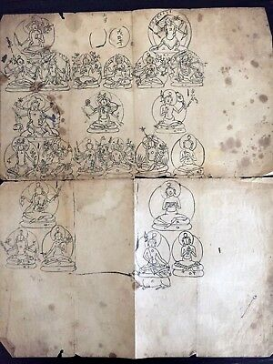 Buddhist Monk's Sketches - Deities and Demons - Large 2-Sided - Mongolia