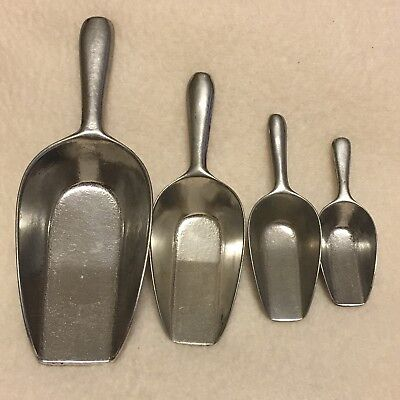 Vintage Tiny Small Miniature Aluminum Metal Scoops From Germany Set Of 4